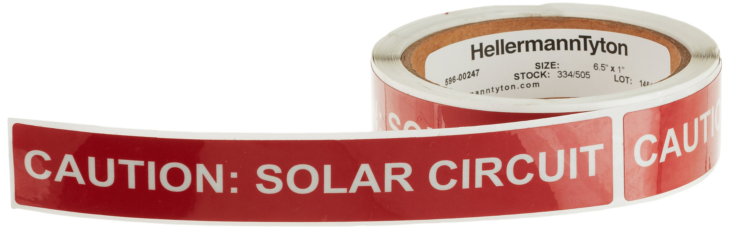 HellermannTyton 596-00247 Pre-Printed Reflective Solar Label, 6.5'' X 1.0'', CAUTION: SOLAR CIRCUIT, Red (Pack of 50)