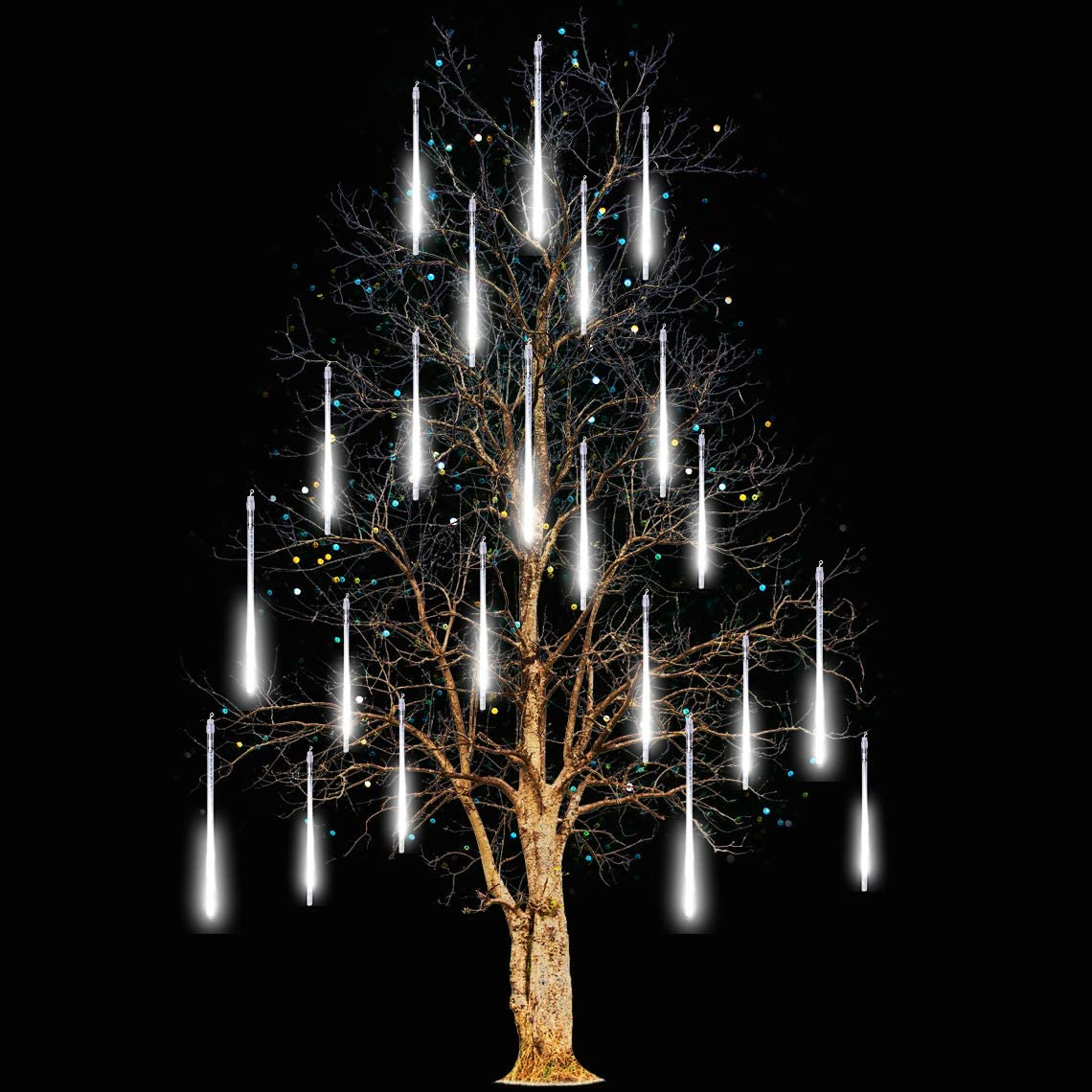 Icicle Lights Snowfall Meteor Shower Rain Light Christmas LED Decoration Falling Drop String Light 8 Tube (White, 30cm)