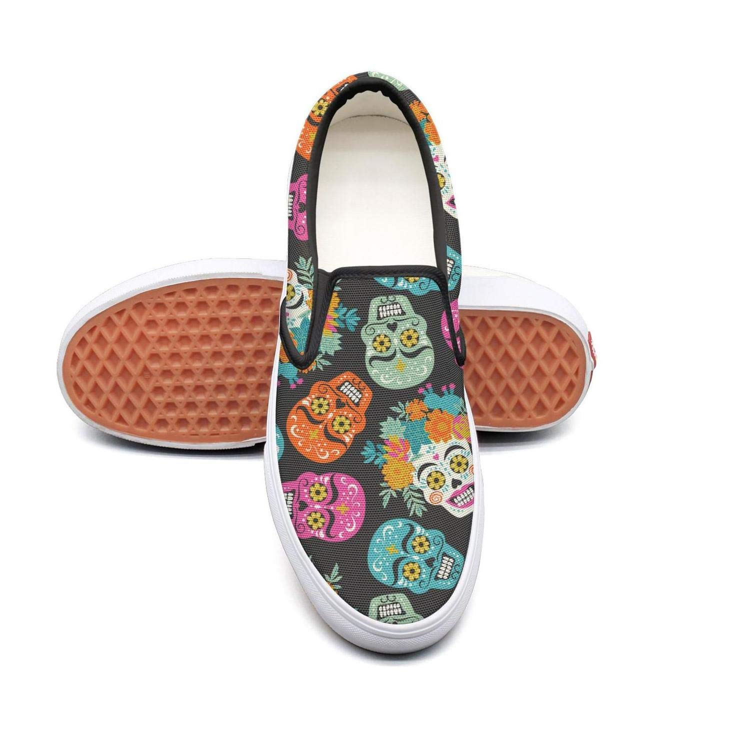 Uieort Cute Cactus Flowers Womens Slip On Sneakers Shoes Rubber Sole