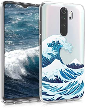 Carcasa de TPU y Ola Japonesa en Azul//Blanco//Transparente kwmobile Funda Compatible con Xiaomi Redmi Note 8 Pro