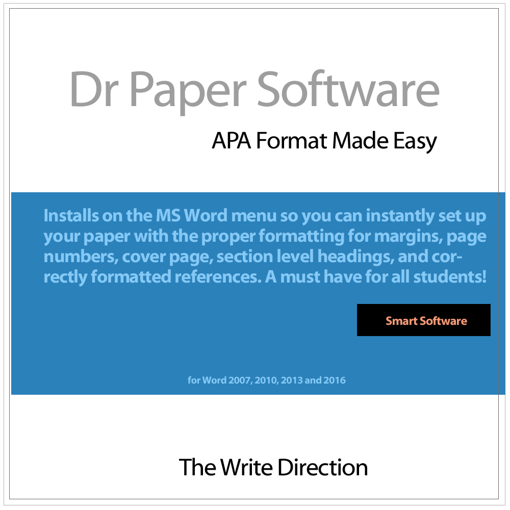 Amazon.com: Dr Paper Software: APA Format Made Easy (Windows) [Download]:  Software