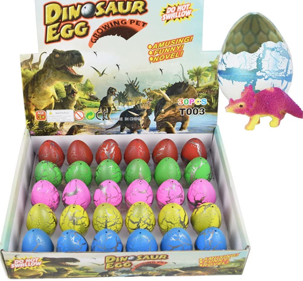 Dinosaur Eggs Toy Hatching Growing Dino Dragon for Children Large Size Pack of 30pcs,Colorful Crack by Yeelan
