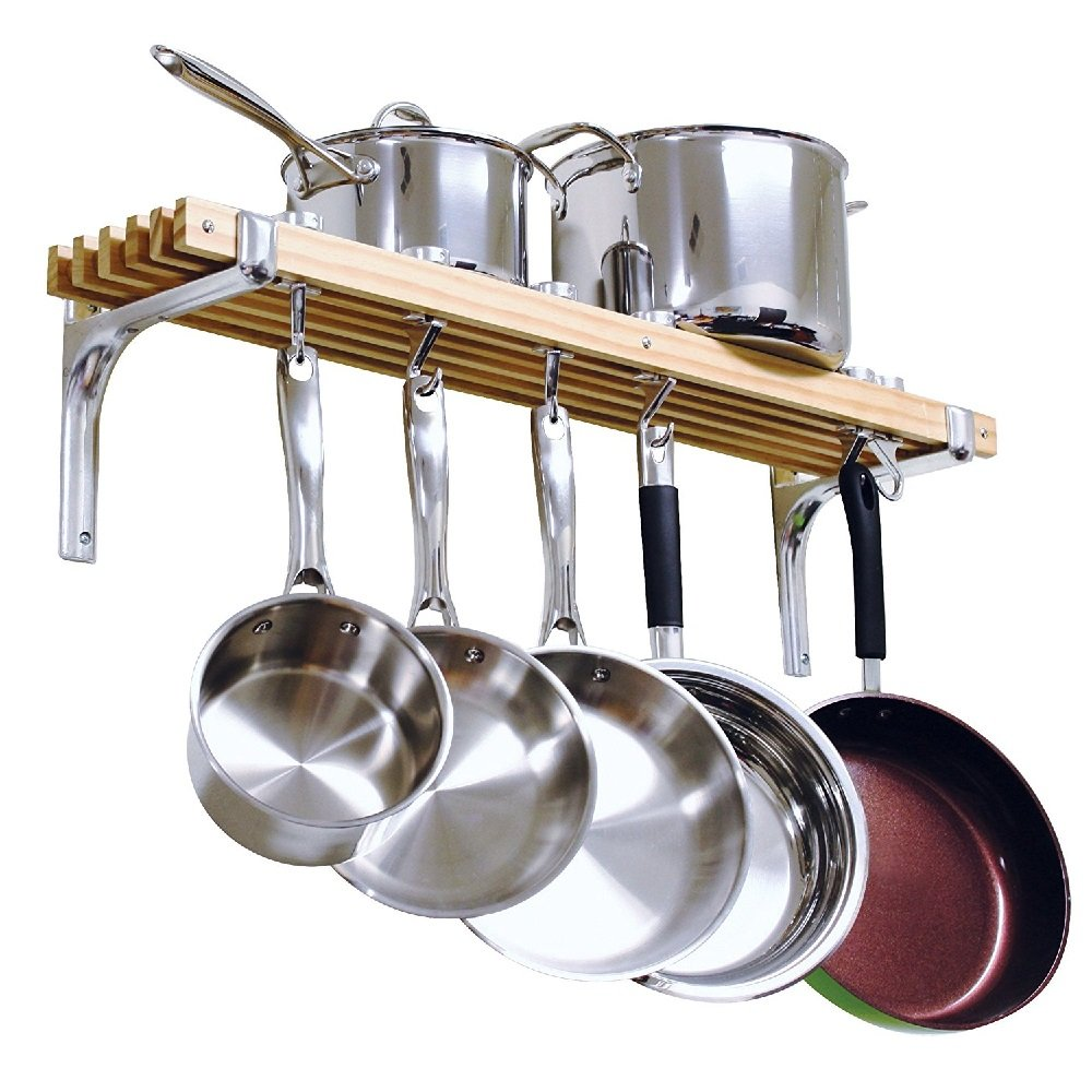 Wall Mount Wooden Pot Rack 36 By 8-Inch Durable And Smooth Easy Installation - Skroutz Deals by Unknown