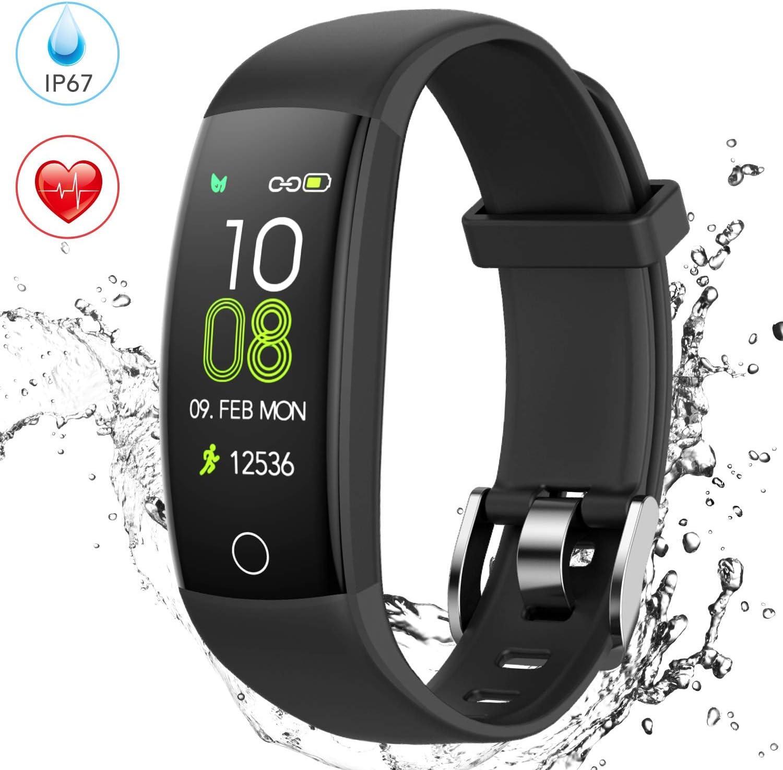 AGPTEK Pulsera de Actividad Inteligente, Reloj Deportivo con GPS, Temporizador, Monitor de Ritmo Cardíaco, Calorías y Sueño, Compatible con iPhone y Android, Negro