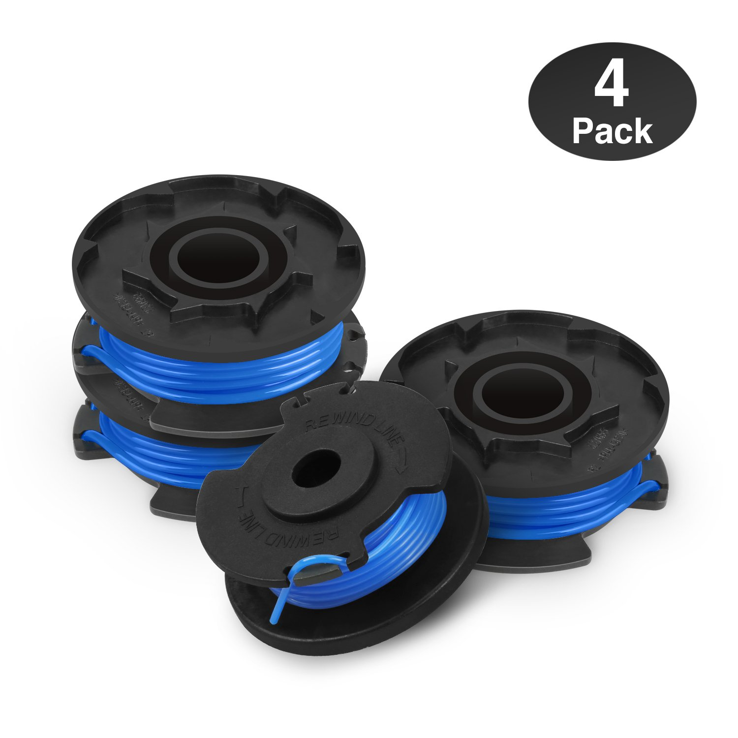 "Eventronic Line String Trimmer Replacement Spool for Ryobi, 0.065"" Autofeed Replacement Spools for Ryobi 18V, 24V, and 40V Cordless Trimmers - 4 Pack"