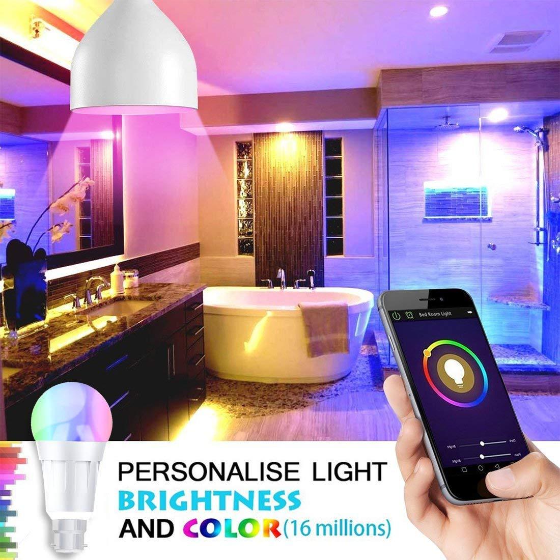 B22-1Pack Smart Alexa Lampe,Alexa Wifi LED Gl/ühbirne,7W B22 RGB Dimmbar Kompatibel Mit  Alexa,steuerbar via App,mehrfarbige Farbwechsel Wake Up Lights,arbeiten mit Alexa und Google Home Fernbe