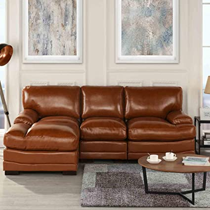 Amazon.com: Brown Leather Sectional Sofa Couch with Chaise ...