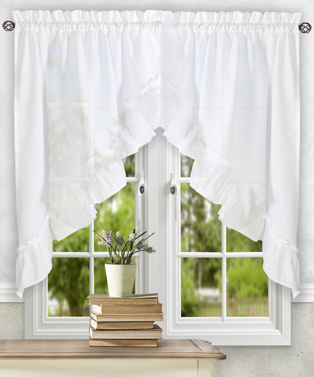 Ellis Curtain Stacey Ruffled Swag, White