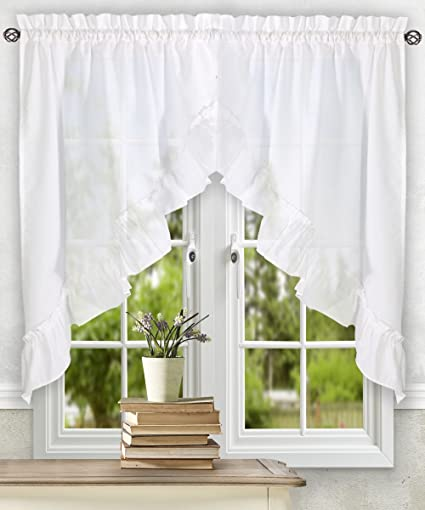 Ellis Curtain Stacey 60-by-38 inch Ruffled Swag Curtain, White