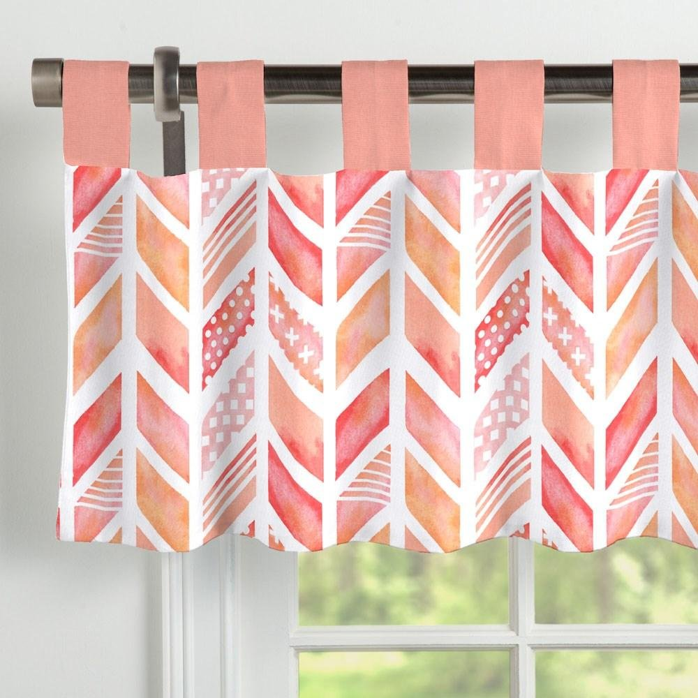 Carousel Designs Coral Watercolor Herringbone Window Valance Tab-Top by Carousel Designs