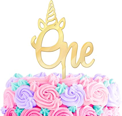 Pink Number 1 Candle Double Sided Glitter Girl 1st Birthday Cake One Unicorn