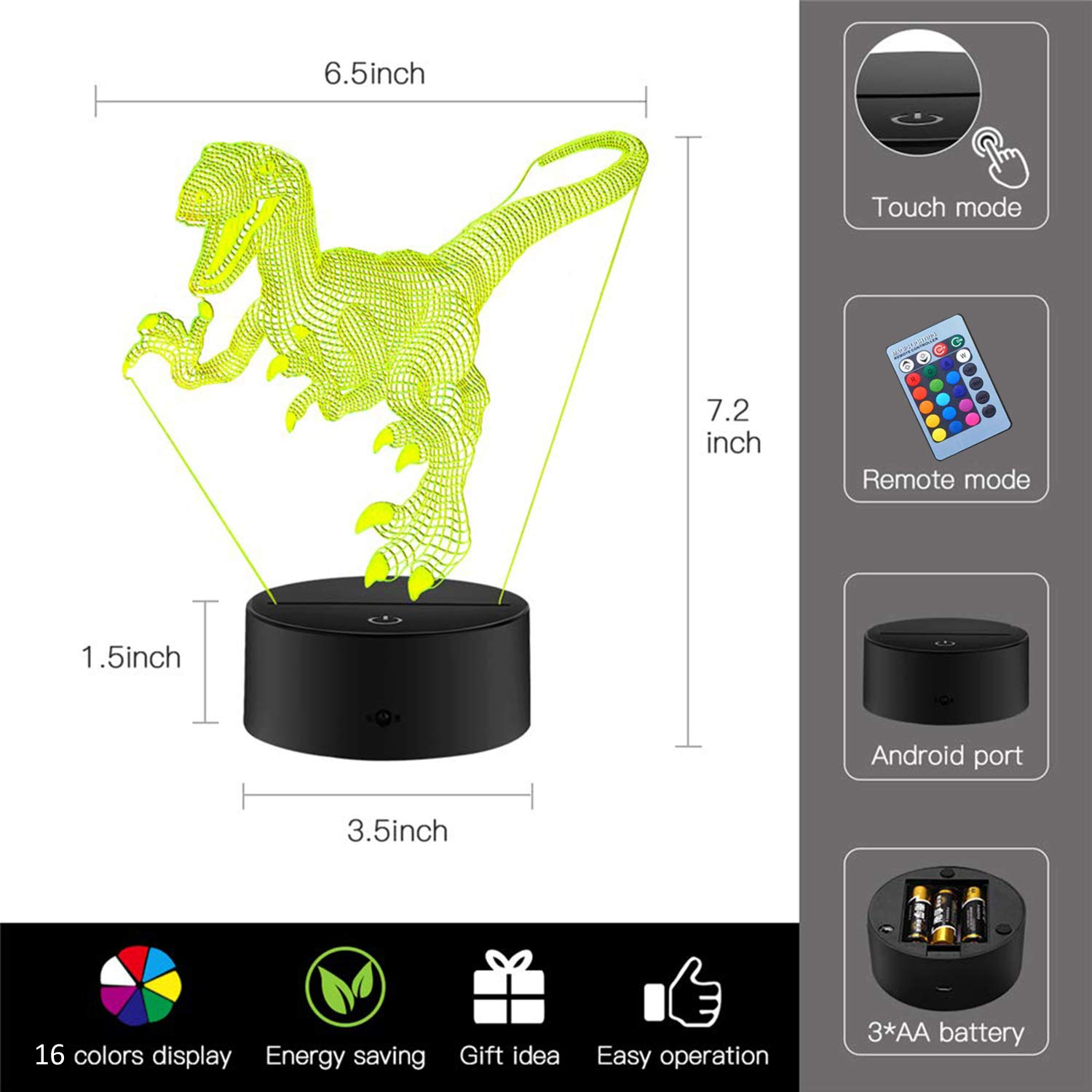 Dinosaur Light Randosk Soccer 3D LED Night Lights for Kids Optical Illusion Lamp Nightlight for Room Table Desk Lamps with 7 Color Touch Operated USB Battery Powered Thanksgiving Holiday Home Decor