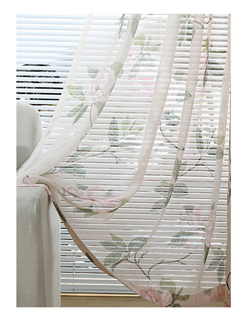 Aside Bside Magnolia Printed Rod Pocket Top Transparent Window Deocration Lodge Style Sheer Curtains For Kitchen Houseroom and Sitting Room (1 Panel, W 52 x L 104 inch, White)