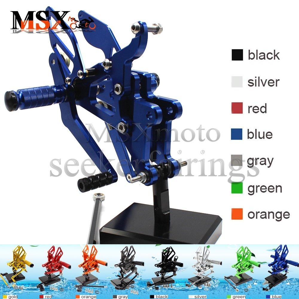 MSX-moto 可倒式 調整型 CNC アジャスタブル バックステップ 適応ヤマハ Yamaha YZF R6 2003 2004 2005 青/ブルー Yamaha YZF R6 2003-2005 青/ブルー B07FW3N9CH
