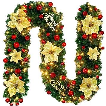 Decorazioni Natalizie Per Ufficio.Jnseaol Ghirlande Corone 2 7m Finestra Albero Di Natale