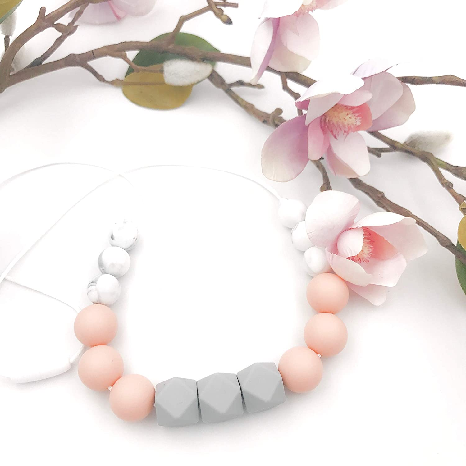 Silicone Teething Necklaces for Mama | BPA Free Eco-Friendly | Made in USA | Pearl Pink Blush Beige Grey Mint Monochrome Marble | Teether Style |