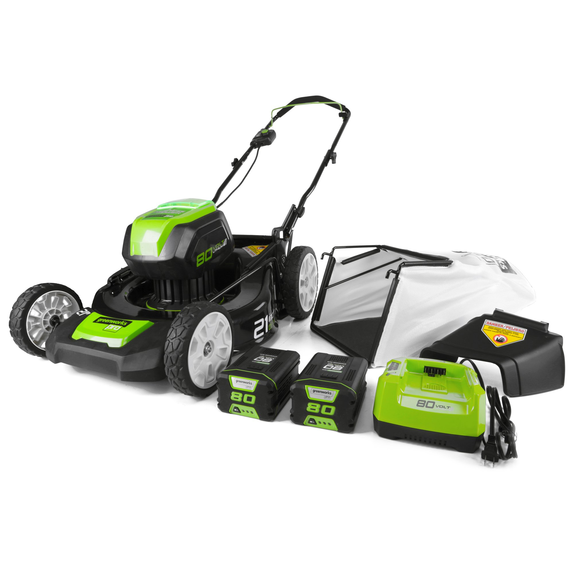 Greenworks PRO 21-Inch 80V Cordless Lawn Mower, Two 2.0AH Batteries Included GLM801601 by Greenworks