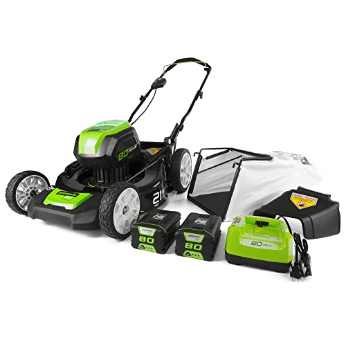 GreenWorks PRO 21-Inch 80V Cordless Lawn Mower, Two 2.0 AH Batteries Included GLM801601
