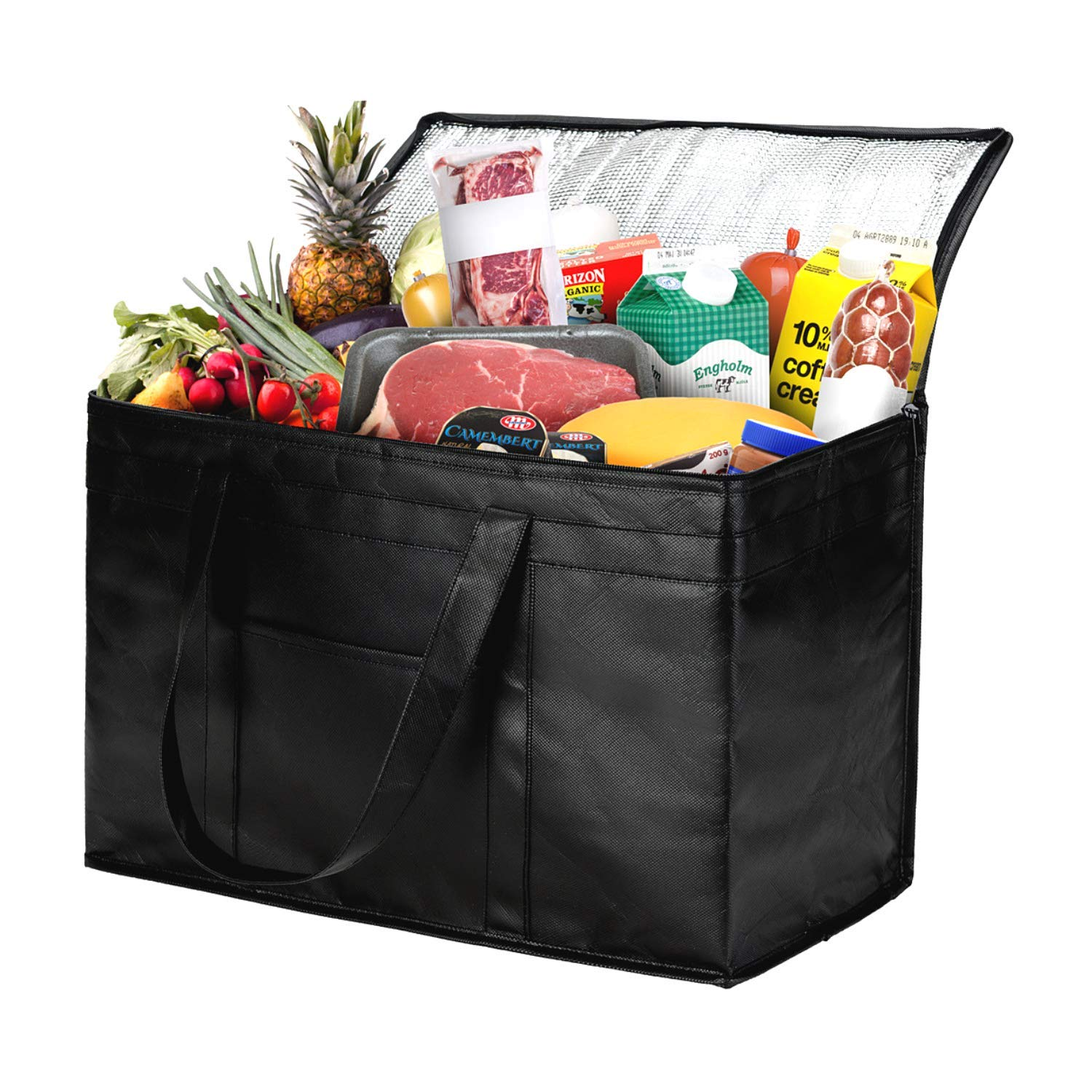 NZ Home 2XL Insulated Grocery Bag, Sturdy Zipper, Collapsible, Heavy Duty, Stands Upright, Jumbo Size Tote, Ideal for Large Grocery Shopping, Food Delivery, Catering Bag (XXL Premium Black, 1)