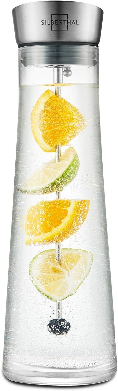 SILBERTHAL Jarra de Agua 1l | Jarra Nevera | Jarra cristal con Tapa | Botella cristal Agua infusionada fria Detox Frutas