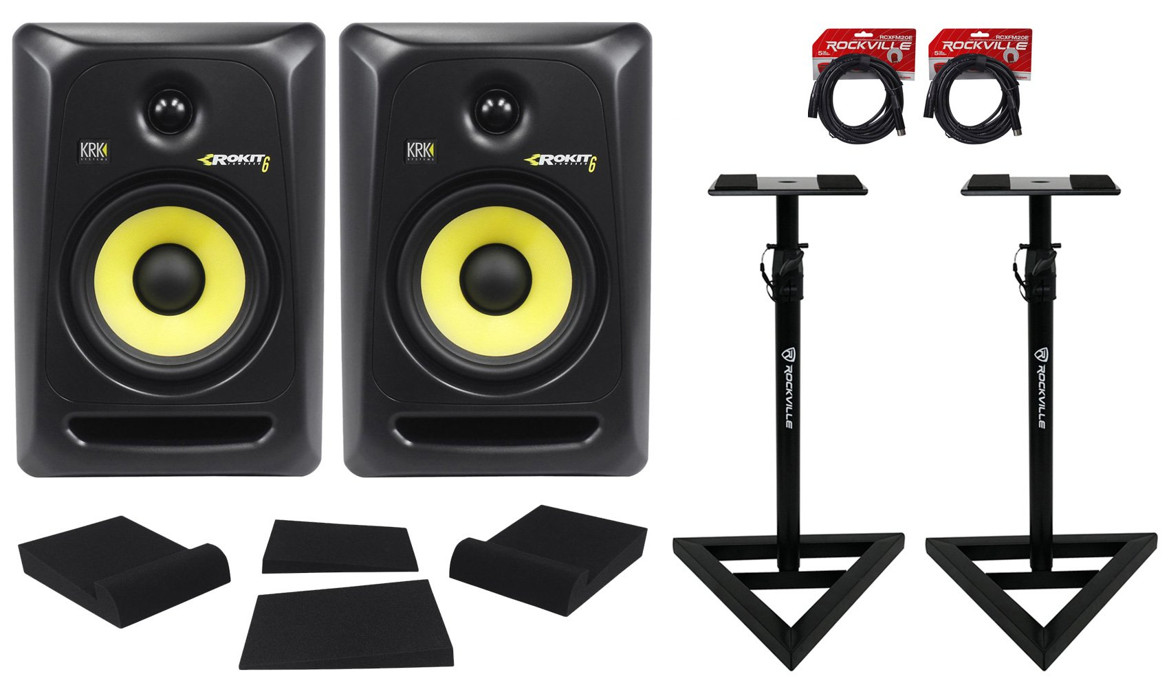 (2) KRK RP6-G3 Rokit Powered 6'' Powered Studio Monitors+Stands+MOPAD+2 Cables