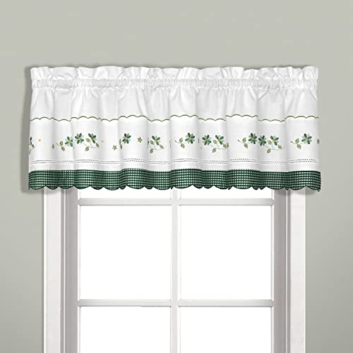 United Curtain Gingham Embroidered Valance, 60 by 14-Inch, Green