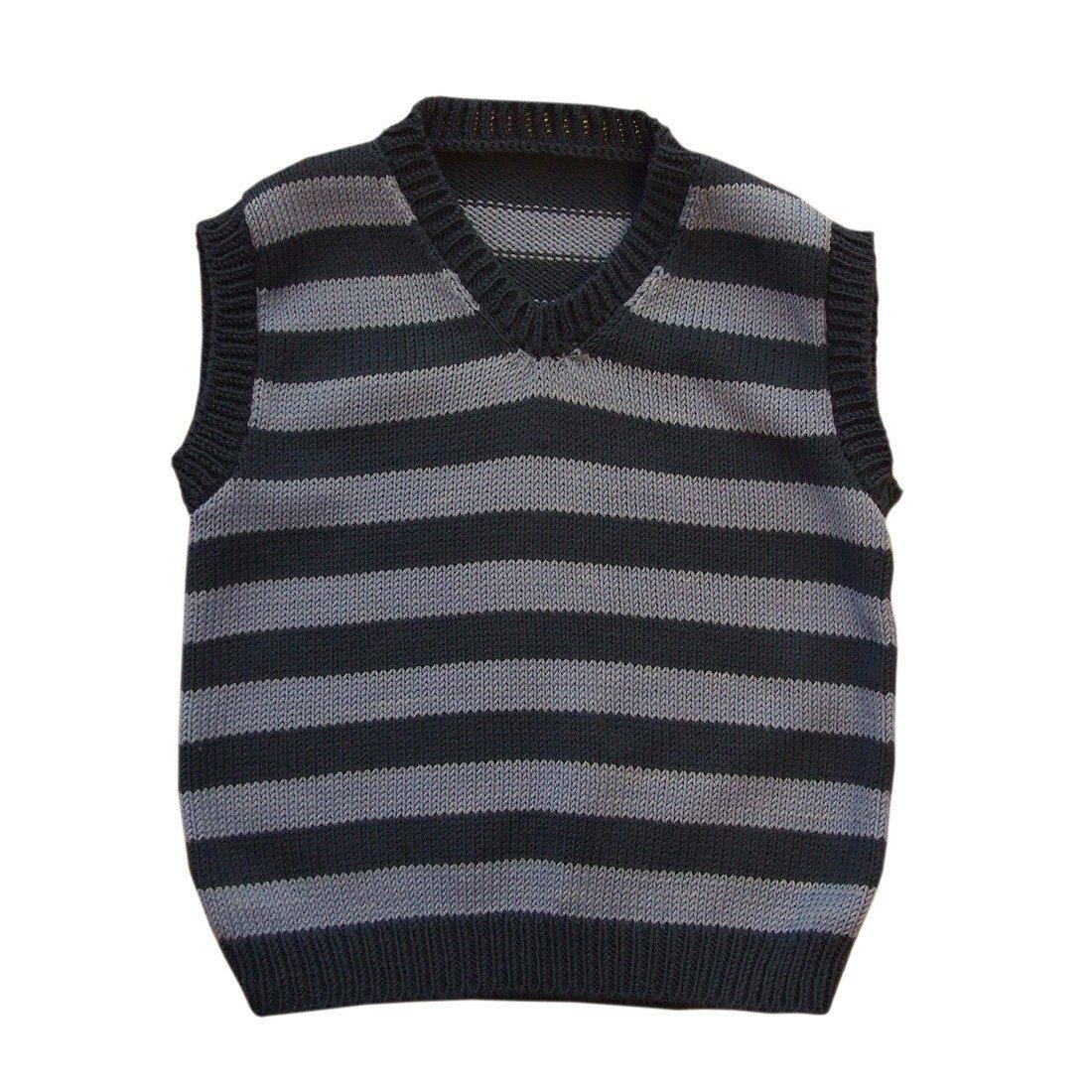tevirp Girl's Striped Vest 2-3 Years Dark Blue/Sky Blue