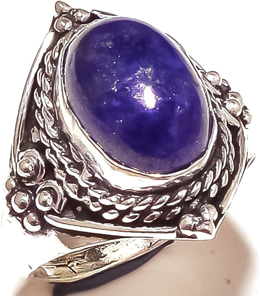 Handmade Jewelry Designer Blue Lapis Lazuli Sterling Silver Overlay Ring Size 9.5 US