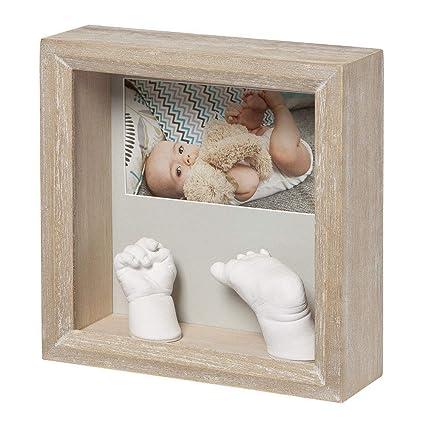 Baby Art My Baby Sculpture Photo Frame, Stormy, Tiefer Bilderrahmen aus Holz für 3D Gipsabdrücke von Hand und Fuß Ihres Babys