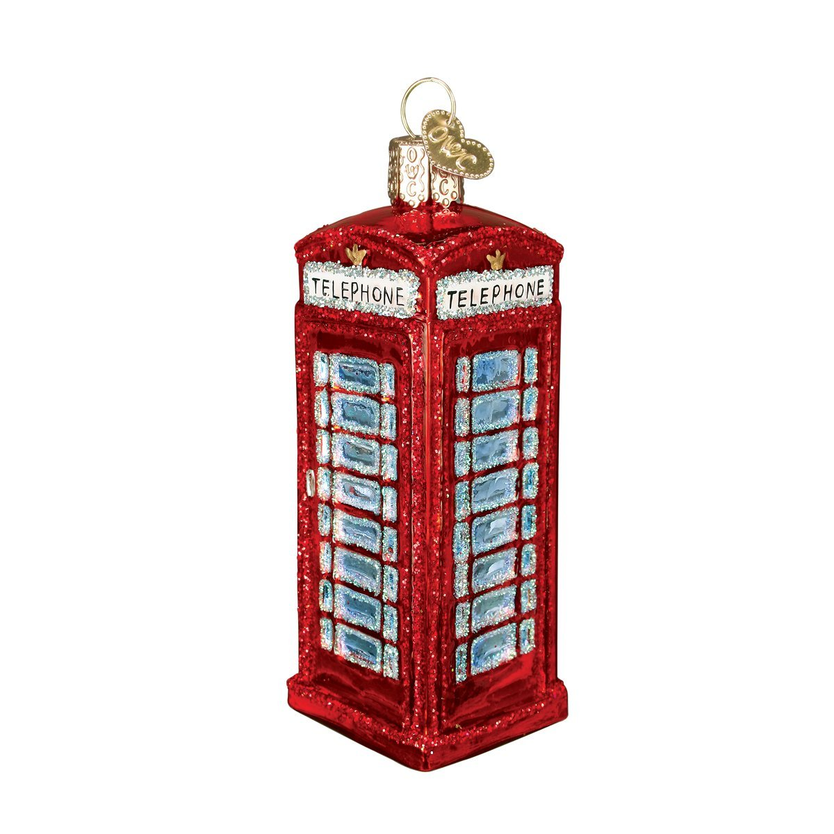 Old World Christmas Ornaments: English Phonebooth Glass Blown Ornaments for Christmas Tree