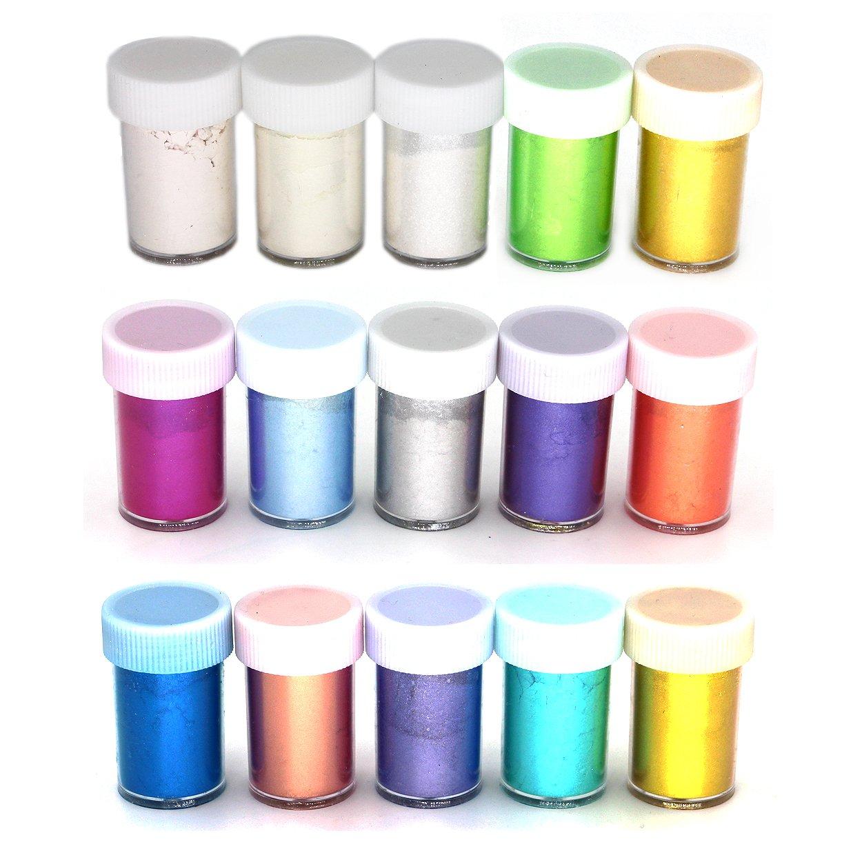 15 Colors Slime Dye Powder Mica Powder Pearl Pigments Soap Dye - Soap Making Colorants Set Colorants for Bath Bomb,Candle Making, Blush, Eye Shadow, Cosmetic, Nail Art, Resin Jewelry Miraclekoo 4336900799