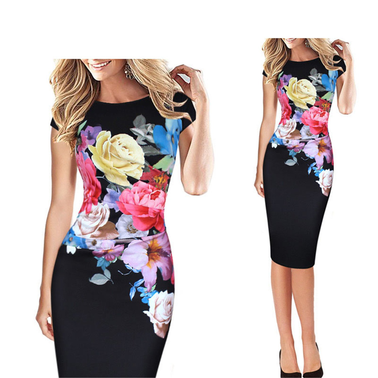 ylovego Womens Elegant Flower Floral Printed Ruched Cap Sleeve Ruffle Casual br Black