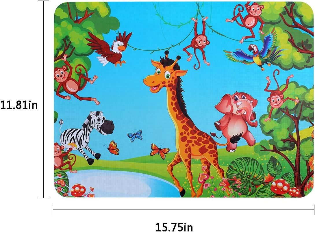 Silicone Placemats for Kids Kuke 3D Print Colored Cartoon Pattern BPA Free Non Slip Waterproof Heat Resistant Educational Kids Placemats