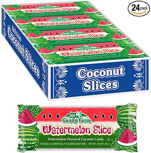 Watermelon Slice Coconut Candy Bars (Watermelon flavored coconut bars) 1.65oz, 24 Count
