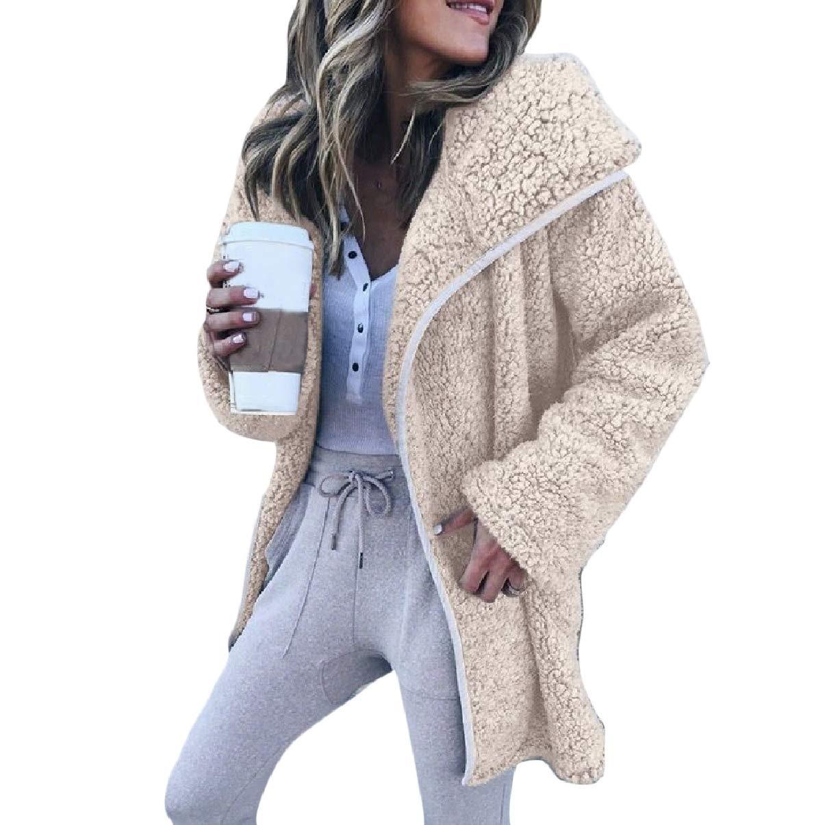 ZXFHZS-CA Women Mid-Length Fuzzy Coat Long Sleeve Lightweight Casual Coat