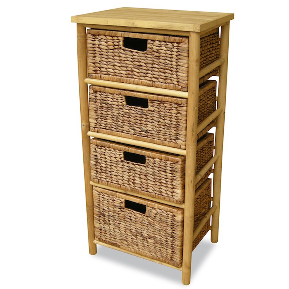 Heather Ann Creations 4-Drawer Bamboo Open Frame Cabinet, 38-Inch, Natural and Brown