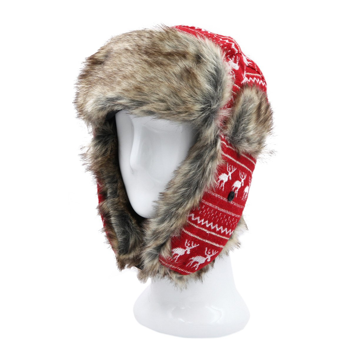 Warm Winter Reinedeer Faux Fur Trapper Ski Snowboard Hunter Hat, 3 Colors Black HT1523B-Black