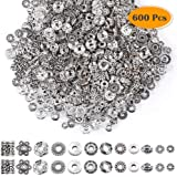 Paxcoo 600pcs 12 Style Silver Spacer Beads Jewelry Bead Charm Spacers for Jewelry Making Bracelets Necklace