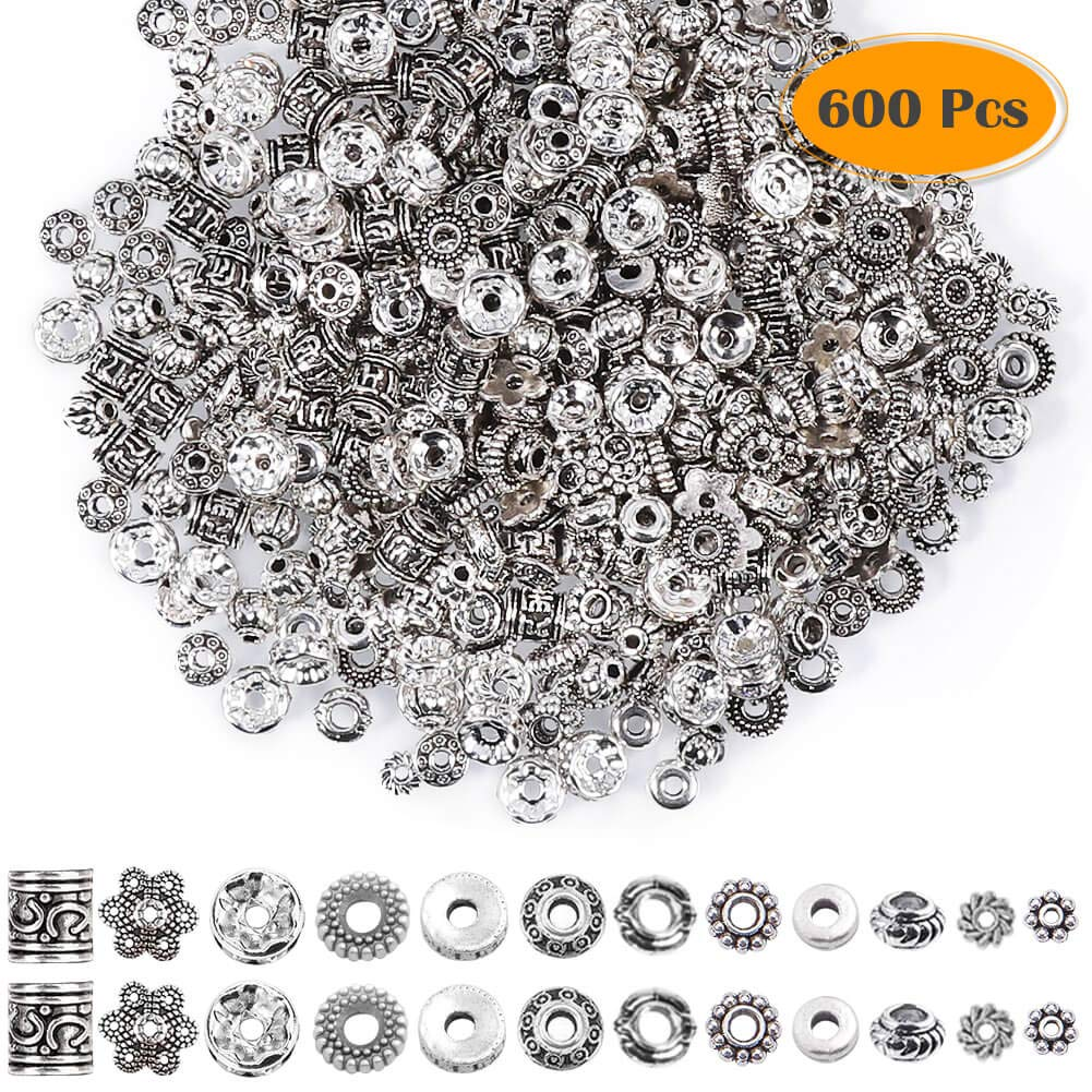 Paxcoo 600pcs 12 Style Silver Spacer Beads Jewelry Bead Charm Spacers for Jewelry Making Bracelets Necklace by PAXCOO