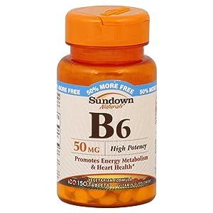 Sundown Vitamin B-6 50mg Tablet 100+50 ct Bonus Pack (2 Pack)