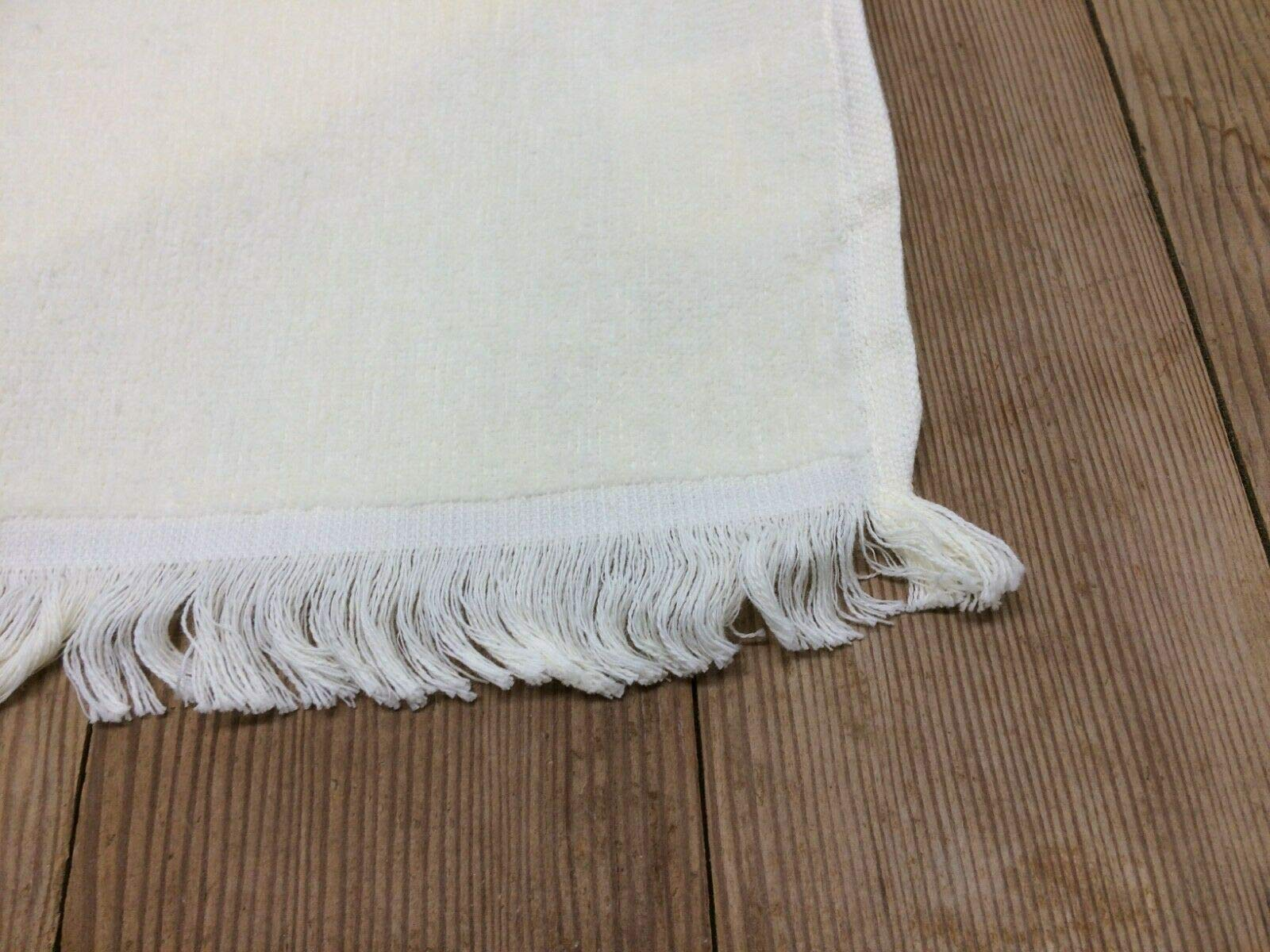 Rima 12 New White Finger TIP Towels Fringe END 11x18 New Item 100% Cotton