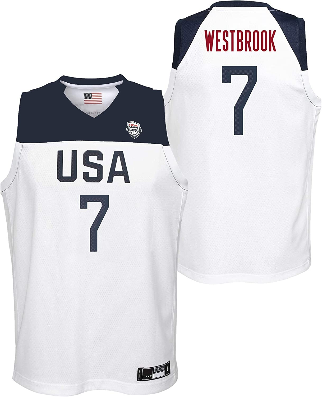 Outerstuff Team USA Basketball Russell Westbrook #7 Home White Swingman Jersey Youth Sizes