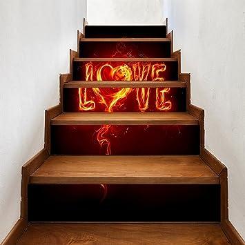 3D Treppe Liebe Flamme Dekoration DIY Renovierung Wandaufkleber 6 Stücke,B