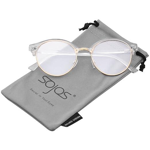 9d6179ad556e Amazon.com: SOJOS Classic Clubround Shades Semi-Rimless Unisex Sunglasses  with Metal Rivet SJ2031 with Transparent Frame/Transparent Lens: Clothing