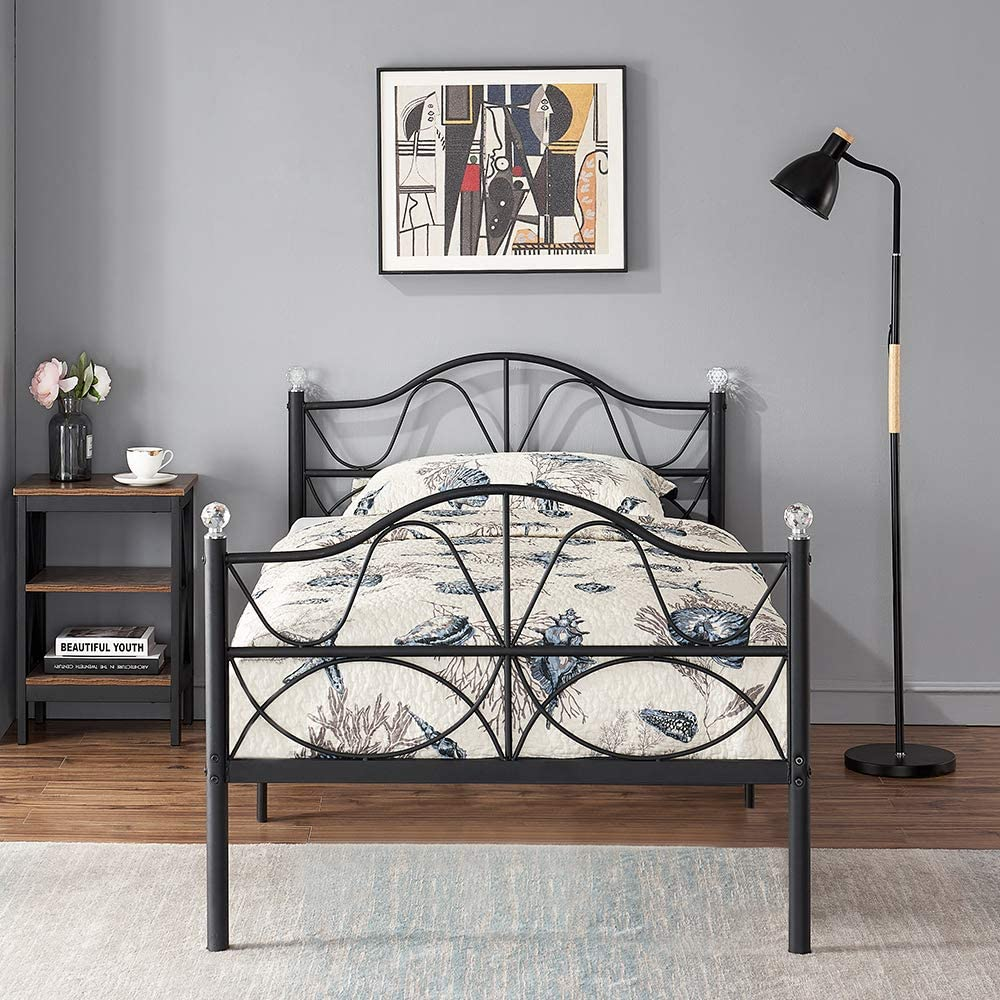 VECELO Classic Metal Bed Frame with Headboard and Footboard, No Box Spring Needed/Mattress Foundation/Heavy Duty,Twin Size-Black