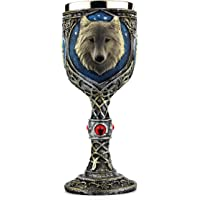 EZESO Wolf Coffee Goblet Cup Stainless Steel Resin