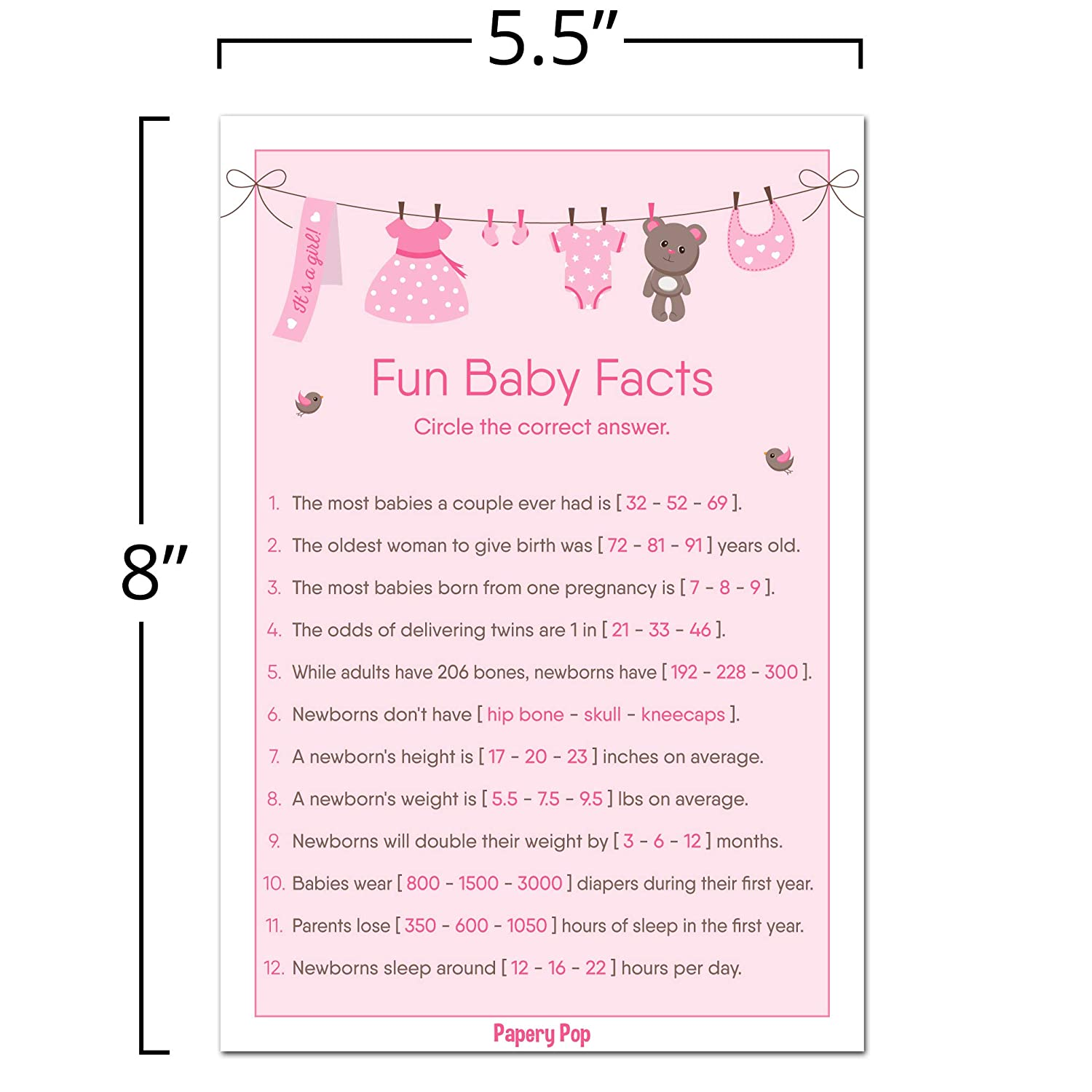 Amazon.com: Fun Baby Facts Game Cards (Pack of 50) - Baby Shower Games Idea  for Girl - Party Activities Supplies: Toys & Games