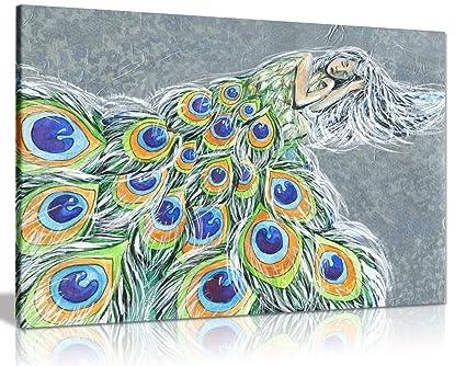 Amazon Com Modern Fairy Tale Painting Peacock Woman Canvas Wall Art