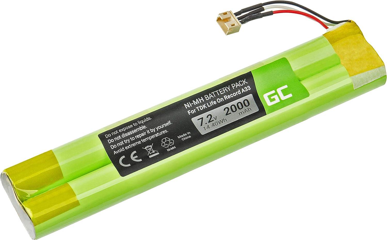 Green Cell ® EU-BT00003000-B Batería para el Altavoz inalámbrico TDK Life On Record A33 A34 A34 Trek MAX (NI-MH Células 2000mAh 7.2V) Modernas Unidades de Control electrónico, garantía de un año
