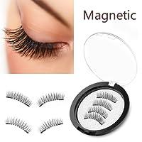 Magnetic Eyelashes, Qivange Upgrade Reusable Dual Magnets Long Lasting Natural False Eyelashes(4 Pcs)